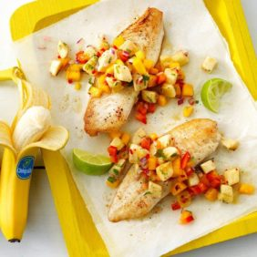 Banana mango salsa with whitefish