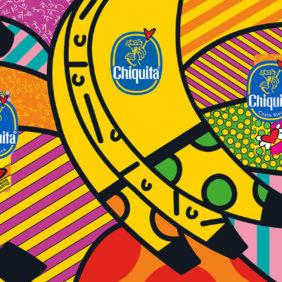 Chiquita blauwe sticker door Romero Britto