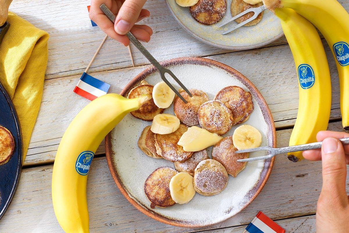 Poffertjes van boekweitmeel met Chiquita banaan