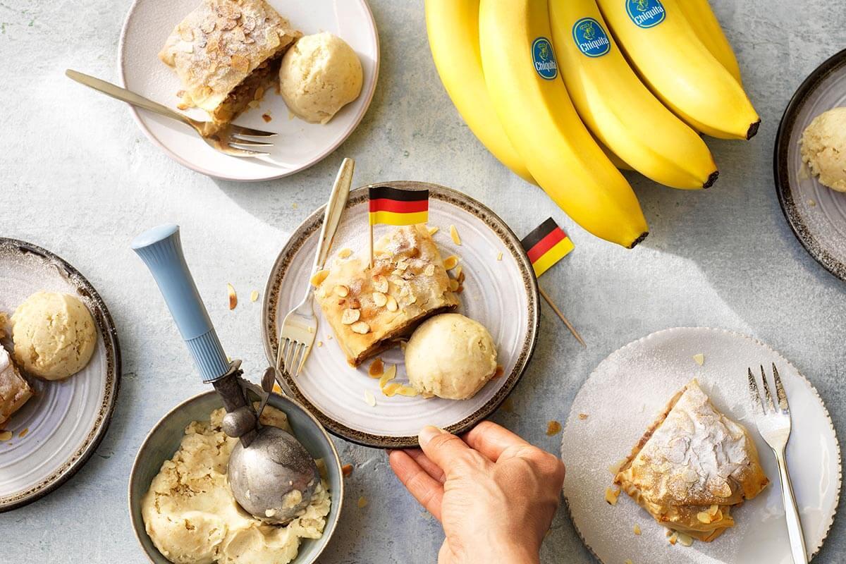 Duitse strudel met amandel en Chiquita banaan