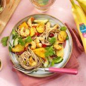 Roergebakken Chiquita-banaan met garnalen