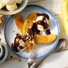 Chiquita-bananensplit met pure chocolade en hazelnoot