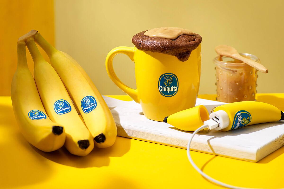 Mugcake met chocolade, pindakaas en Chiquita-banaan