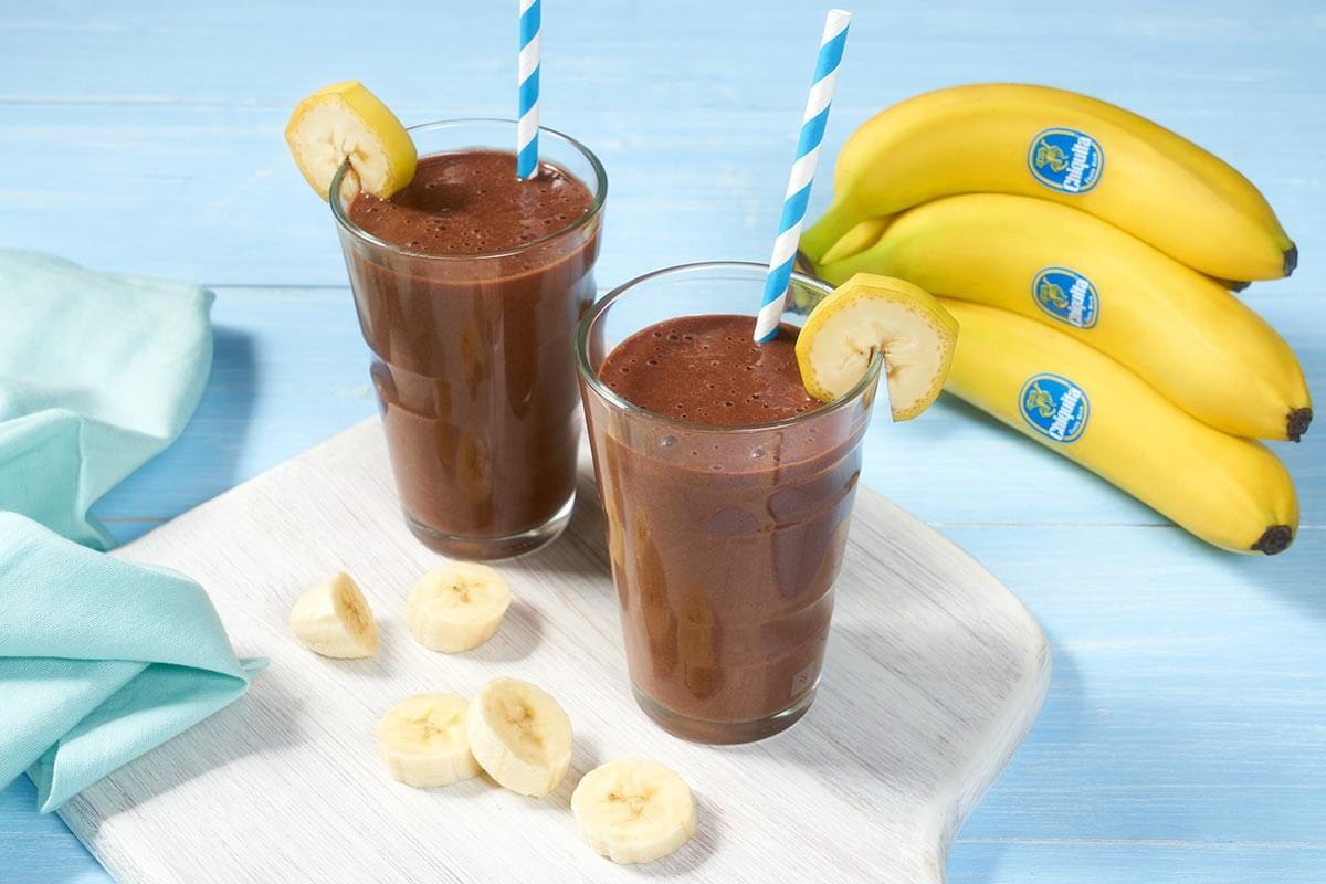 Snelle shake met Chiquita-banaan en dubbele chocolade