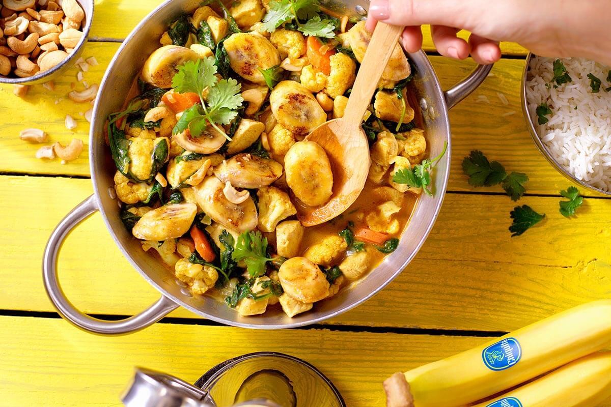 Indiase kipcurry met Chiquita banaan, bloemkool en spinazie