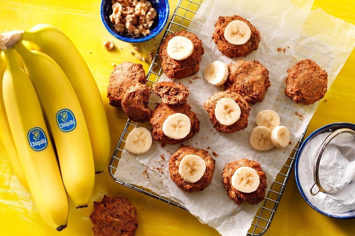 Veganistische Chiquita-bananenbroodkoekjes met overrijpe bananen