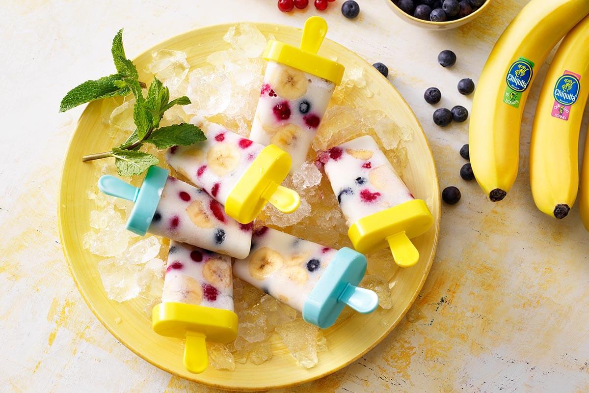 IJslolly's met Chiquita-banaan en amandelmelk voor na het sporten