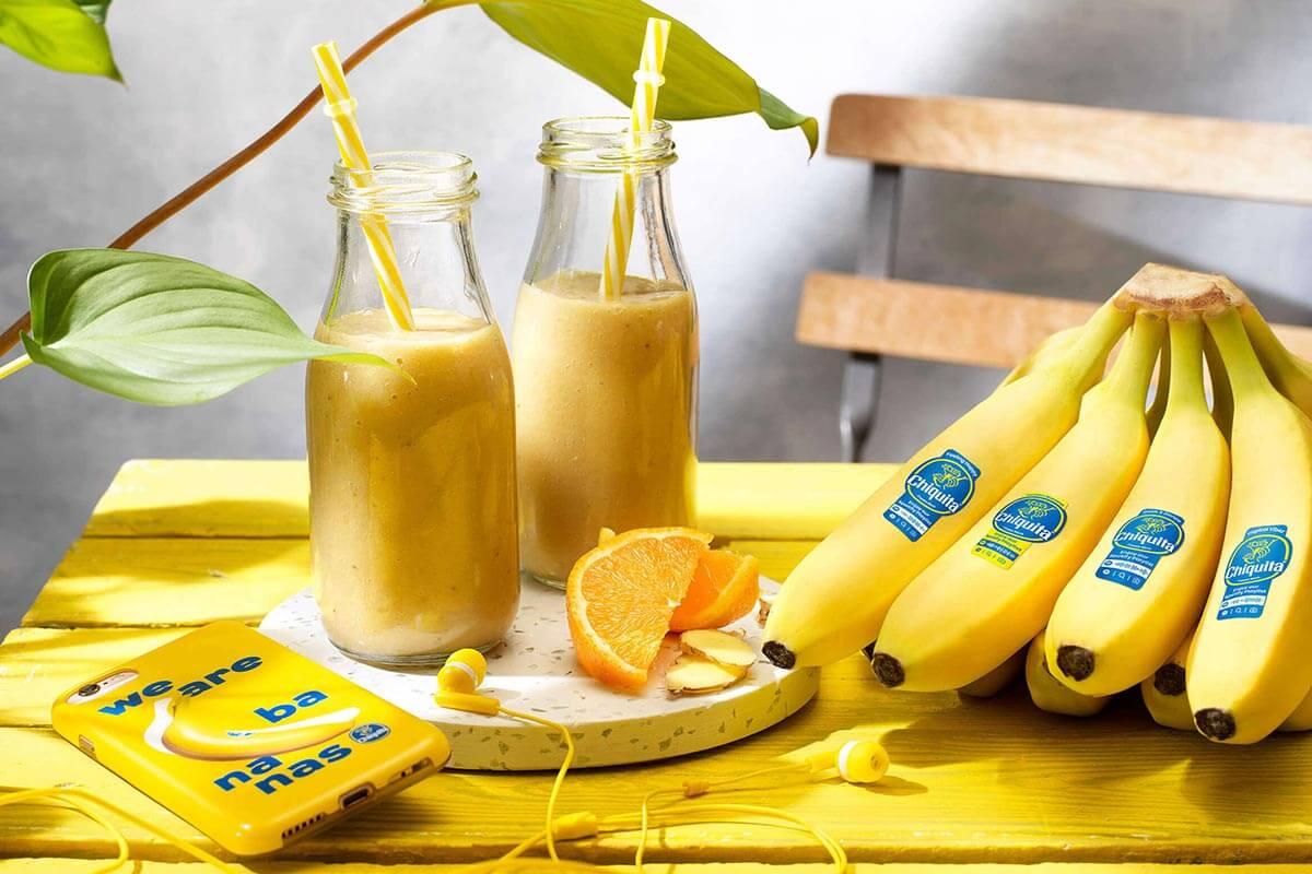 Smoothie met Chiquita banaan, sinaasappel en gember
