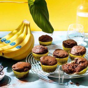 Veganistische chocolademuffins met Chiquita-bananen