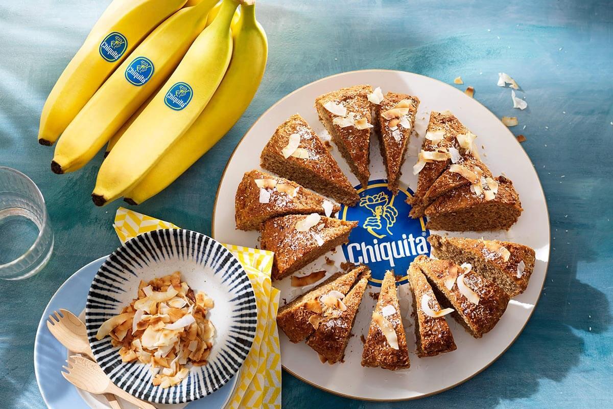 Veganistische Chiquita-bananenbrood met kokos