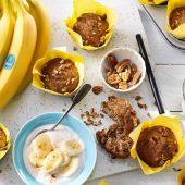 Veganistische Chiquita-banaanmuffins met pecannoten