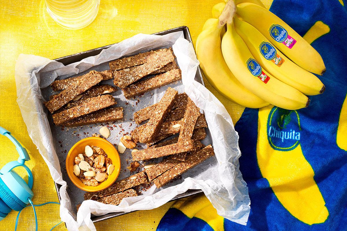 Eiwitrepen van Chiquita-bananen met noten
