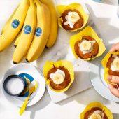 Veganistische Chiquita-bananen-roomcupcakes