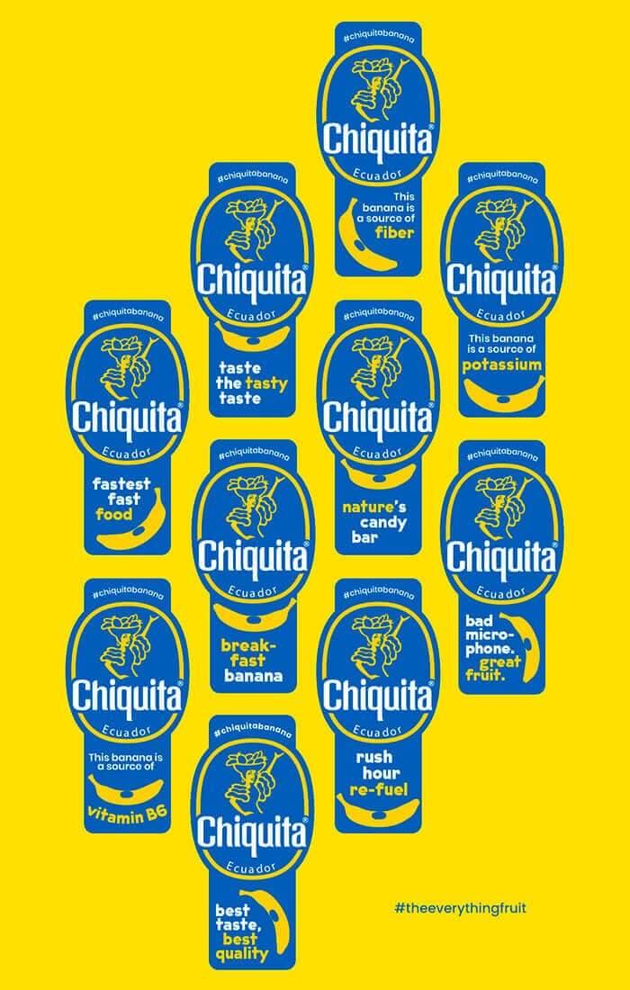 De banaan van Chiquita: stickers van het veelzijdige fruit