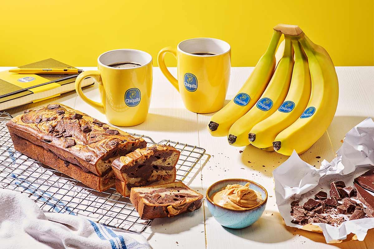 Chiquita bananenbrood met pindakaas en chocolade