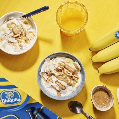 Kom met amandelboter, banaan en kokos voor energie vóór het sporten van Chiquita